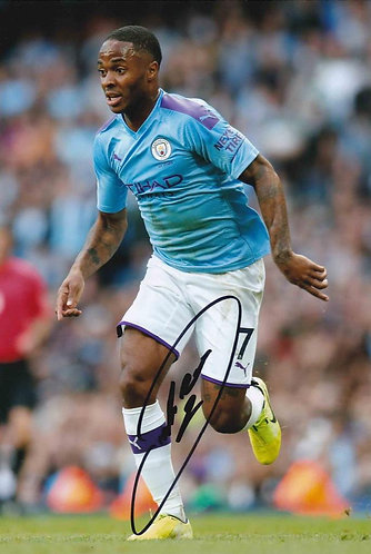 RAHEEM STERLING SIGNED MANCHESTER CITY 12X8 PHOTOGRAPH