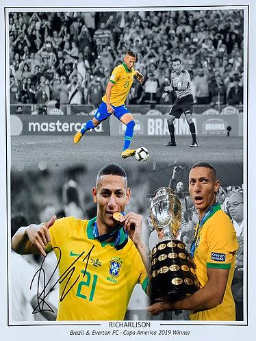 RICHARLISON SIGNED 16x12 BRAZIL EVERTON MONTAGE