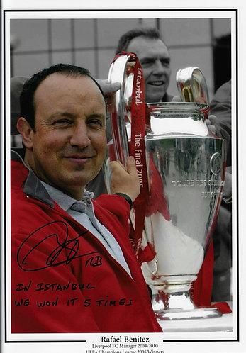 RAFAEL BENITEZ SIGNED 16x12 LIVERPOOL FC ISTANBUL WINNERS MONTAGE