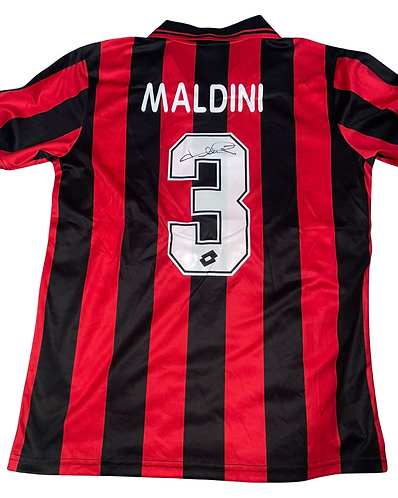 PAOLO MALDINI SIGNED AC MILAN RETRO 1994 LOTTO HOME SHIRT