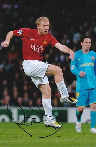 PAUL SCHOLES SIGNED MANCHESTER UNITED 12X8 PHOTOGRAPH