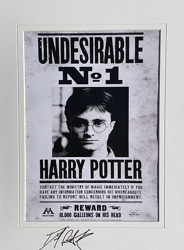 DANIEL RADCLIFFE SIGNED HARRY POTTER UNDESIRABLE WANTED 16x12 PRINT
