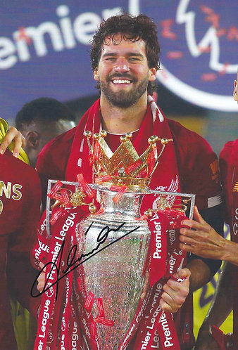 ALISSON BECKER SIGNED 12x8 PREMIER LEAGUE WINNERS PHOTO