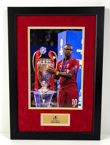 SADIO MANE FRAMED SIGNED 12x8 CHAMPIONS LEAGUE CHAMPION PHOTO