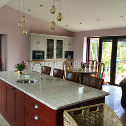 Solid Ash Kitchen Painted Grey and Maroo