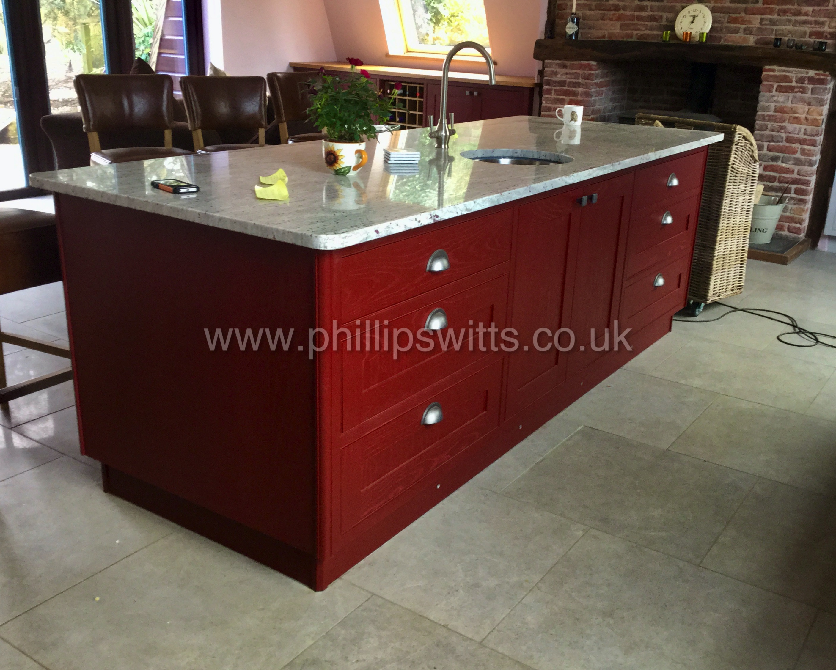 Solid Ash Kitchen Island Painted Maroon_