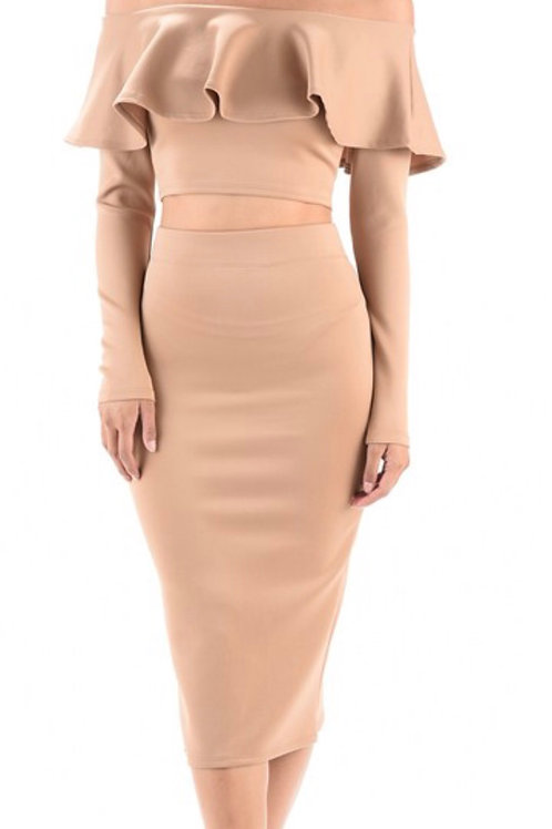 Nude Two Piece Skirt Set
