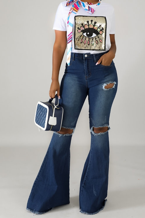 Raw Flare Jeans