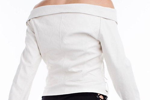 White Leather Off the Shoulder Jacket