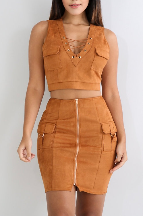 Suede Two Piece