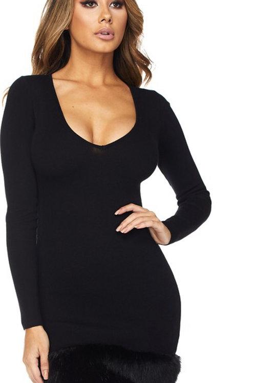 Classic black dress with fur