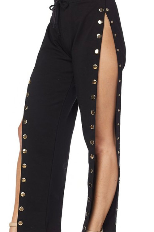 Black snap pants