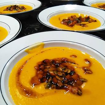 Butternut squash soup w brown butter pepitas