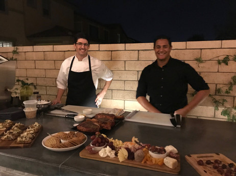 Chef Daniel and Tyson working it.