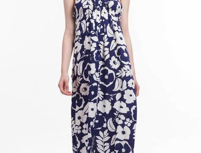 Vestido de Viscose Longo Floral com Alças Rolotê Animale