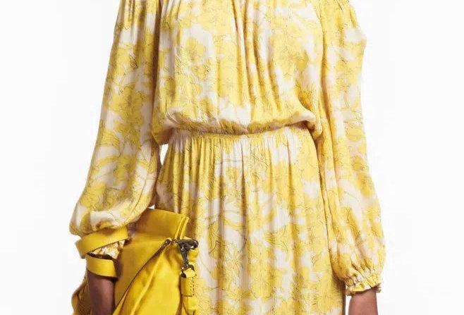 Vestido de Viscose Midi Floral Horto Ombro a Ombro - Animale
