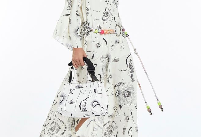 Vestido Midi de Georgette Pesado de Manga curta Estampado Animale