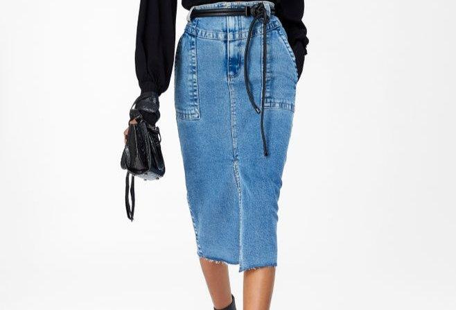 Saia Jeans Midi Recortes Animale