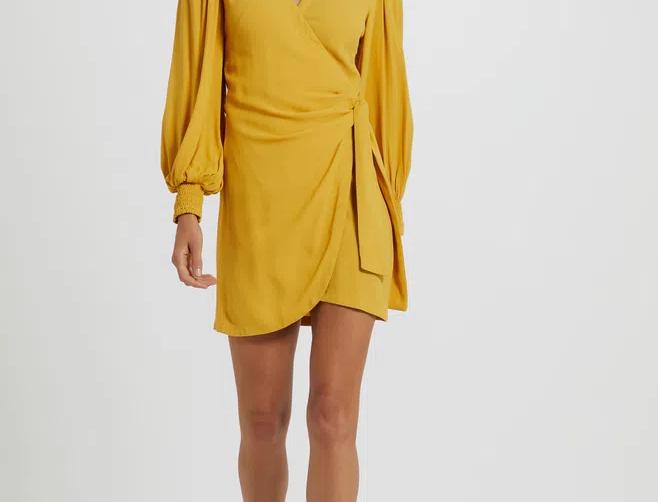 Vestido de Viscose Sarjada Manga Bufante amarelo Tawny Animale