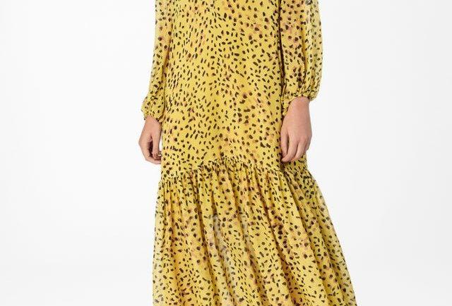 Vestido de Georgette Midi Com Manga Longa Estampado