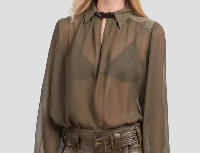 Camisa Ampla com Detalhe de Couro na Gola Lisa Animale
