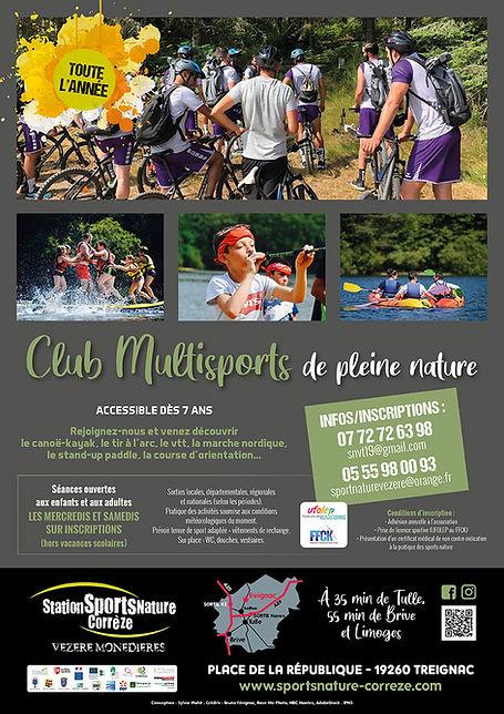 Affiche du Club muultisports de Pleine Nature ouvert toute l'année de Treignac en Corrèze : VTT, sarbacane, paddle géant, canoë kayak, course d'orientation...