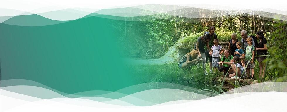 Groupe de randonneur découvrant la biodiversité dans la nature près de tulle en Corrèze. Cette randonnée accompagnée par un guide nature est accessible aux enfants comme à leurs grands parents. Les 6 stations sports Nature de Corrèze proposent des activités tournée vers la nature et les sports outdoor toute l'années.