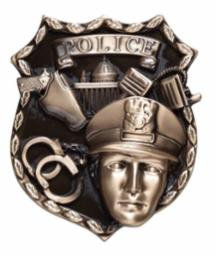 Police Shield Cast Metal Plaque Accessory