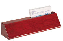 "8 1/2"" Rosewood Piano Finish Desk Wedge with Business Card Holder"