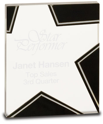 "5 1/2"" Silver and Black Star Glass Award"