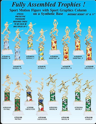"Fully Assembled Trophies ~ Approximately 10"" & 11"" Sizes"