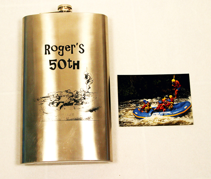 Laser marked flask with text and image