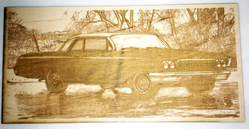 Picture of Impala engraved on wood