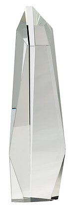 "12"" Clear Crystal Facet Slant-Top Tower Award"