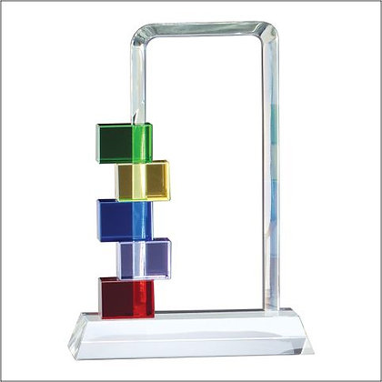 Billboard Glass Award with Colored Blocks