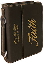 Black/Gold Leatherette Book/Bible Cover with Handle & Zipper