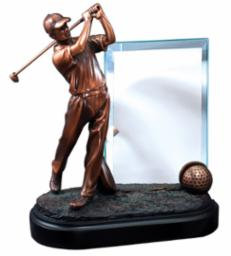 "9"" Resin Male Golfer with Glass Panel"