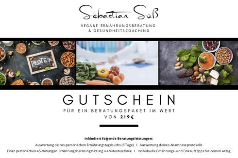 Gutschein vegane Ernährungsberatung Beratungspaket veganer Ernährungsberater Sebastian Süß