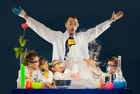 Kids with crazy professor doing science