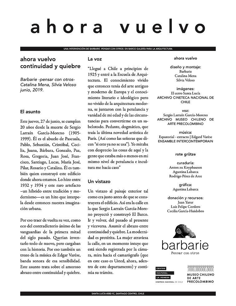 Ahora vuelvo. Intervención de Barbarie-pensar con otros en Barco Galería para la Arquitectura Junio 2019 - Catalina Mena | Silvia Veloso