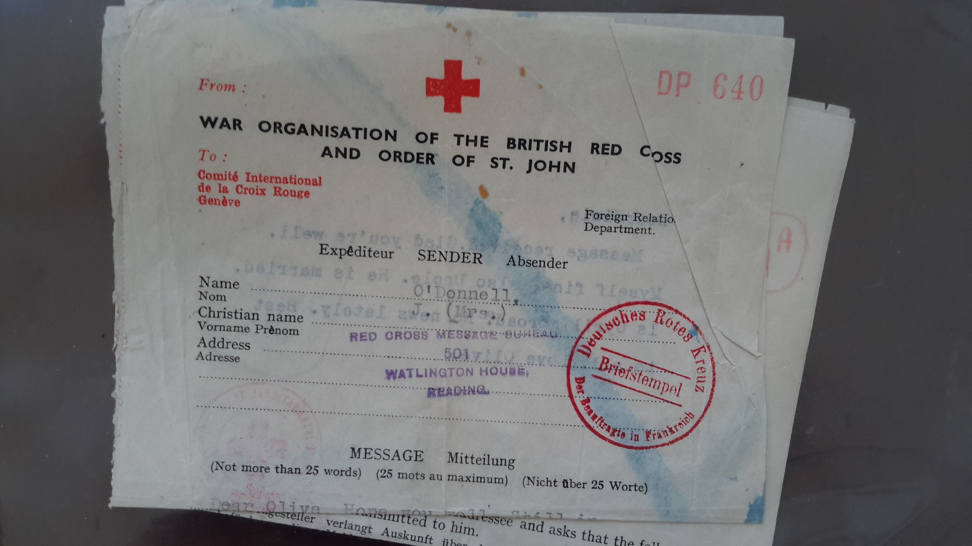 Red Cross Messages front