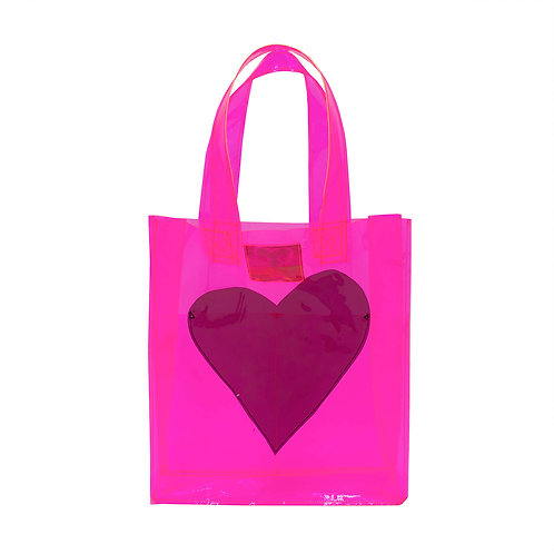 Vinyl Bag with Heart Pocket - Pink