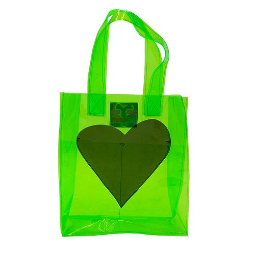Vinyl Bag with Heart Pocket - Green