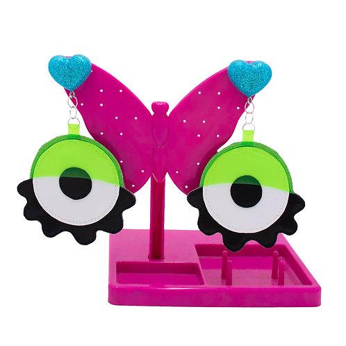Eyeball Earrings - Green