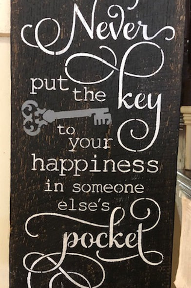 KEY TO HAPPINESS painted sign
