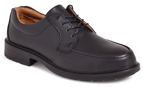 Black Plain Front Tie Safety Shoe