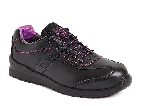 Black Non- Metallic Ladies Tie Shoe