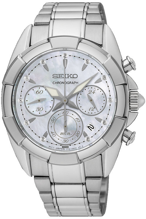 SEIKO LADIES 36MM SAFIR 100M MOP 11 DIA.CHRONO