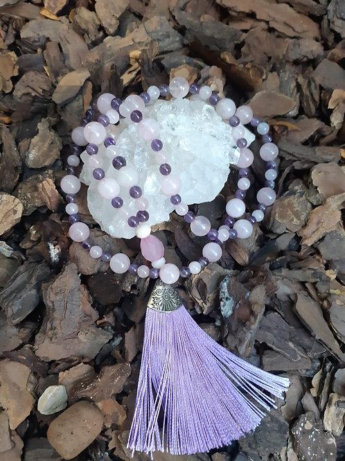 Japamala 108 contas ametista e quartzo rosa
