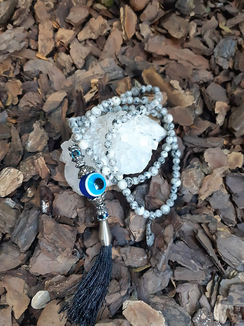 Japamala 108 contas pedra da lua autêntica